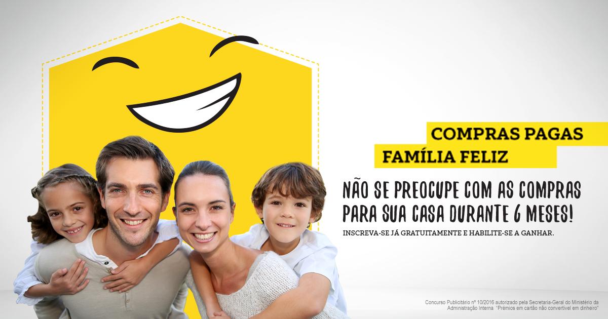 Passatempo Compras pagas, família feliz