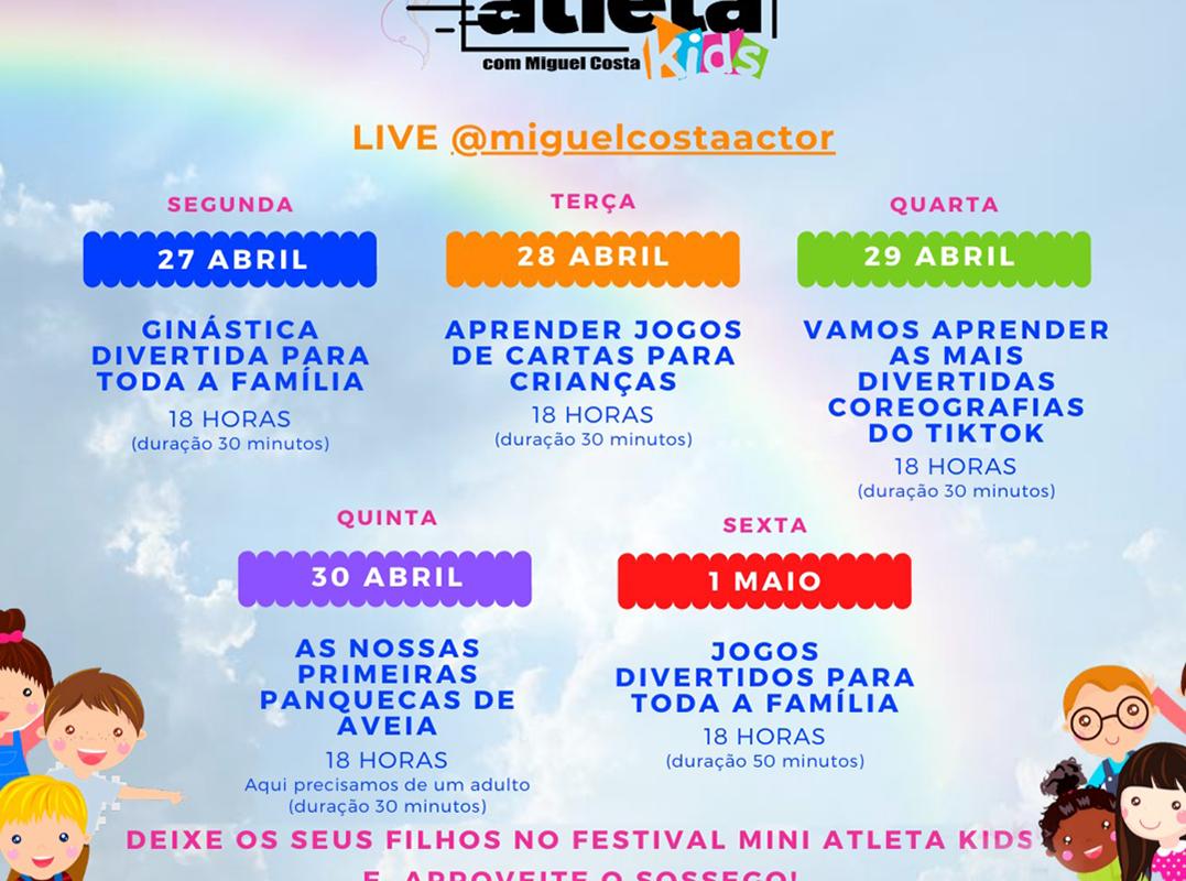 """1º Festival online """"O Mini Atleta Kids"""" de 27 de Abril a 1 de Maio"""